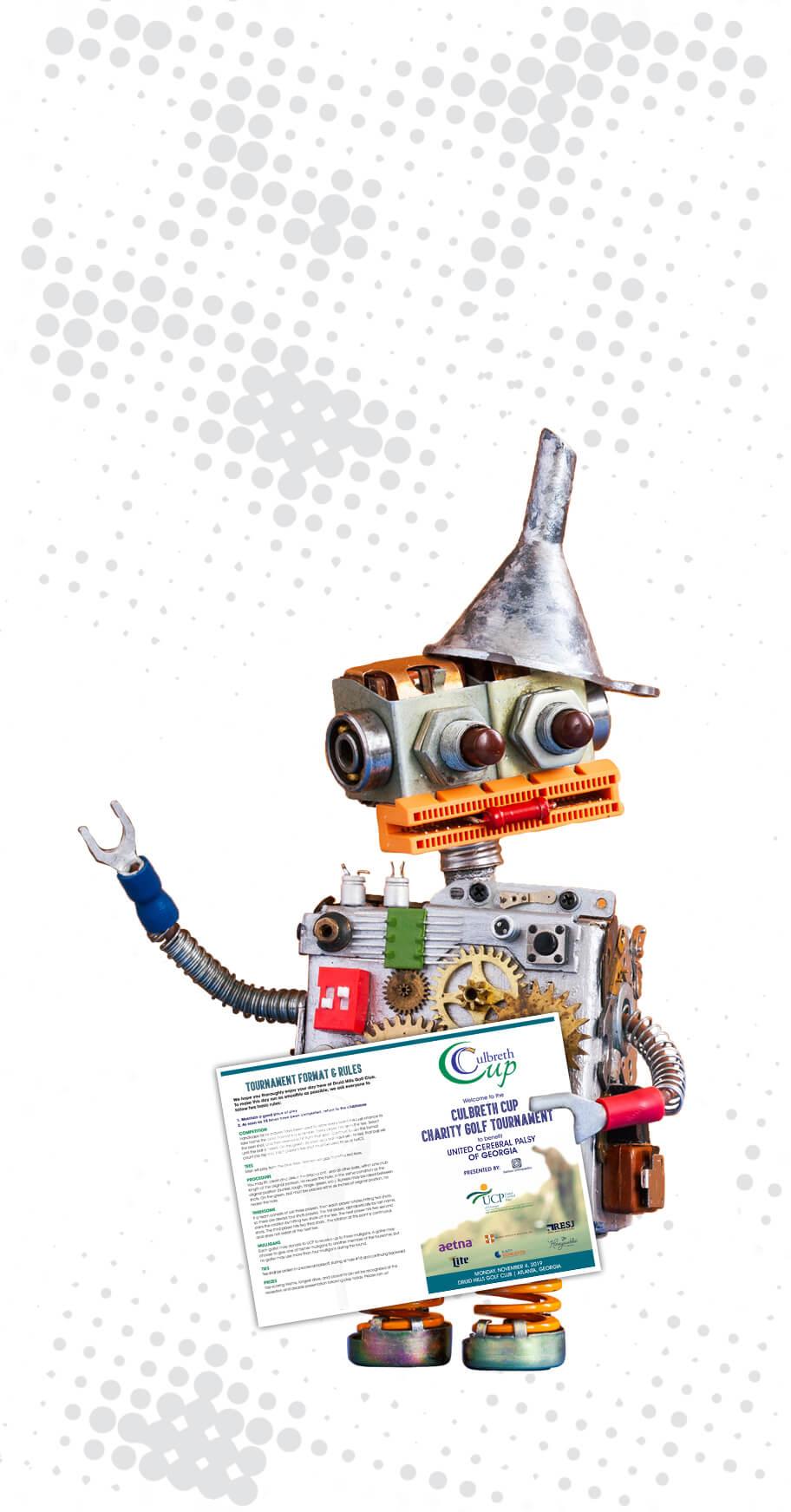 robot holding a pamphlet